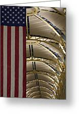 The American Flag At Reagan Airport Greeting Card
