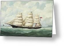 The American Ship Olive S Southard Of San Francisco In French Waters Off Le Havre Greeting Card