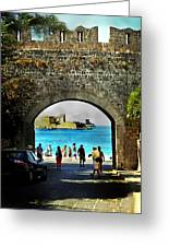 The Ancient City Of Rhodes Greeting Card by Judy Paleologos
