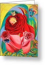The Angel Of Roses Greeting Card