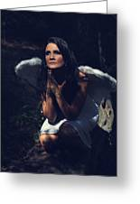 The Angel Prayed Greeting Card by Laurie Search