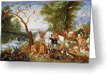 The Animals Entering Noahs Ark Panel Greeting Card