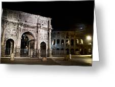 The Arch Of Constantine And The Colosseum At Night Greeting Card