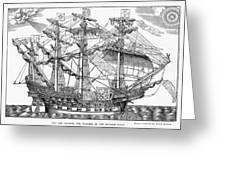 The Ark Raleigh The Flagship Of The English Fleet From Leisure Hour Greeting Card