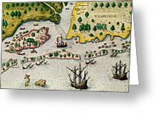 The Arrival Of The English In Virginia Greeting Card