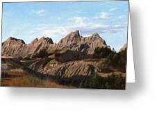 The Badlands In South Dakota Oil Painting Greeting Card