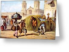 The Baker And The Straw Seller, 1840 Greeting Card