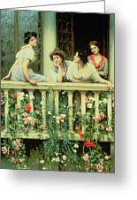 The Balcony Greeting Card by Eugen von Blaas