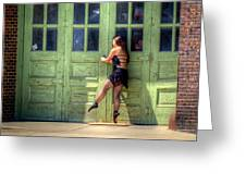 The Ballerina And The Green Doors Greeting Card