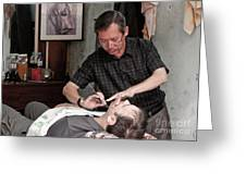 The Barber Shaves Another Customer 02 Greeting Card