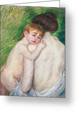 The Bare Back Greeting Card by Mary Cassatt Stevenson