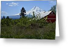 The Barn And  Mt. Hood Greeting Card