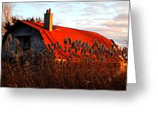 The Barn  At Sunset Greeting Card