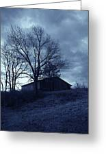The Barn In Blue Greeting Card