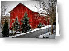 The Barn In Wintertime Greeting Card by Jeanne Geidel-Neal