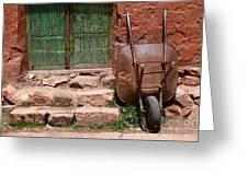 Rusty Wheelbarrow And Green Door Greeting Card