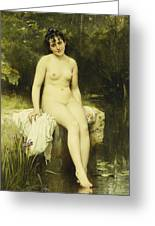 The Bather Greeting Card by Leon Bazile Perrault