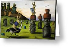 The Battle Over Easter Island Greeting Card by Leah Saulnier The Painting Maniac