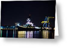 The Battleship New Jersey At Night Greeting Card