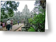 The Bayon In Angkor Thom In Angkor Wat Archeological Park-cambodia Greeting Card
