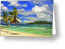 The Beach At Anse Gaulettes Greeting Card