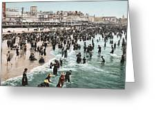 The Beach At Atlantic City 1902 Greeting Card