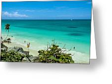 The Beach At The Tulum Ruins Greeting Card