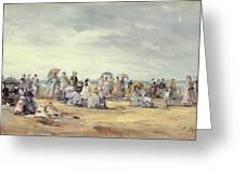 The Beach At Trouville, 1873 Greeting Card