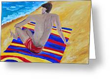The Beach Towel Greeting Card by Donna Blackhall