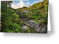 The Beautiful Scene Of The Seven Sacred Pools Of Maui. Greeting Card