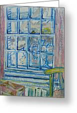 The Bedroom Window Oil & Pastel On Paper Greeting Card
