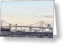 The Ben Franklin Bridge From Penn Treaty Park Greeting Card