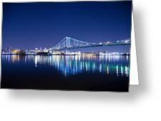 The Benjamin Franklin Bridge At Night Greeting Card