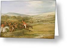 The Berkeley Hunt, Full Cry, 1842 Greeting Card