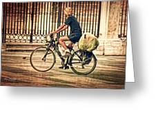 The Bicycle Rider - Leon Spain Greeting Card