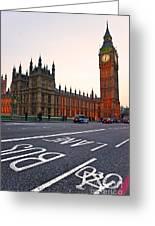 The Big Ben Bus Lane - London Greeting Card