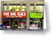 The Big Slice Pizzeria Downtown Toronto Restaurants Doner Kebob House Street Scene Painting Cspandau Greeting Card