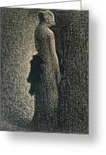 The Black Bow Greeting Card by Georges Pierre Seurat