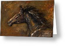 The Black Horse Oil Painting Greeting Card