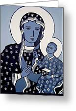 The Black Madonna In Blue Greeting Card