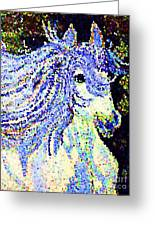 The Blue And White Pony Greeting Card