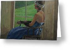 The Blue Dress, 2009 Oil On Canvas Greeting Card