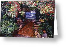 The Blue Garden Gate Greeting Card by David Lloyd Glover