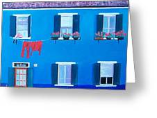 The Blue House Burano Greeting Card