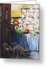 The Blue Paling - Backyard Of The Arthouse Buetzow Greeting Card