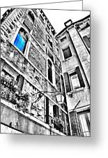 The Blue Window In Venice - Italy Greeting Card