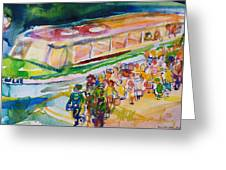 The Boat Trip, 1989 Wc On Paper Greeting Card
