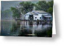 The Boathouse Greeting Card by Bill Wakeley