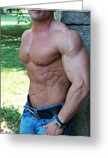 The Bodybuilder  Soft Touch Greeting Card by Jake Hartz