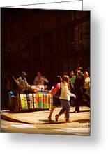 The Bookseller - New York City Street Scene - Street Vendor Greeting Card